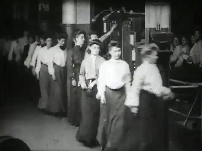 girls taking time checks 1904