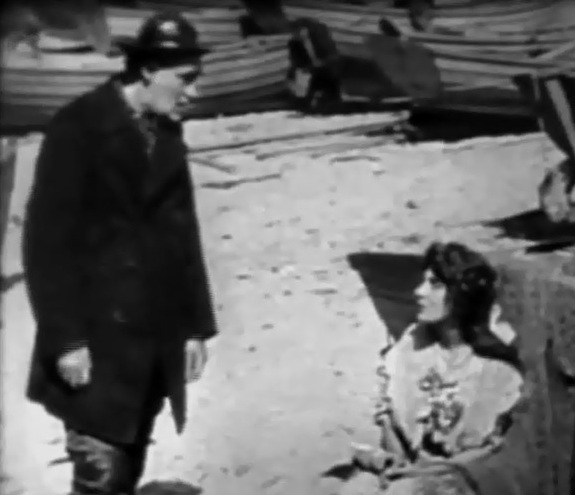 George Nichols and Linda Arvidson in Lines of White on a Sullen Sea 1909 01