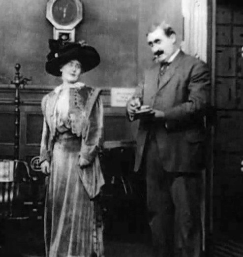 Grace Henderson and George Nichols in The Usurer 1910 director DW Griffith cinematographer Billy Bitzer 00
